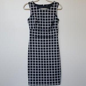 Club Monaco Windowpane Print Black Career Dress 2